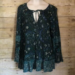 Lucky Brand Floral Border blouse ruffle hem